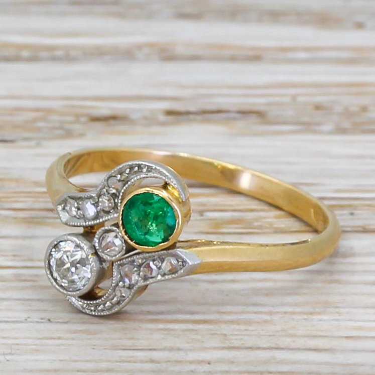 art nouveau old cut diamond 038 emerald toi et moi ring circa 1910