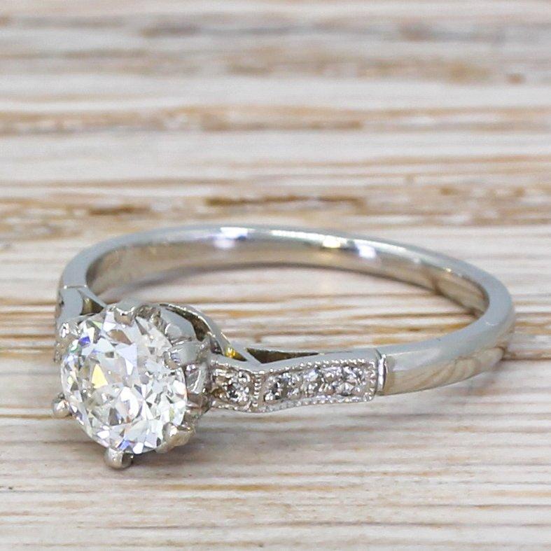 art deco 076 carat old cut diamond engagement ring circa 1920
