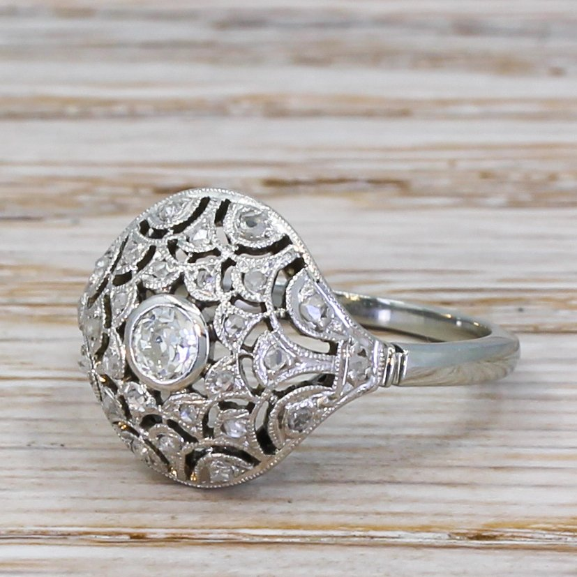art deco 040 carat old cut diamond bomb cluster ring circa 1935