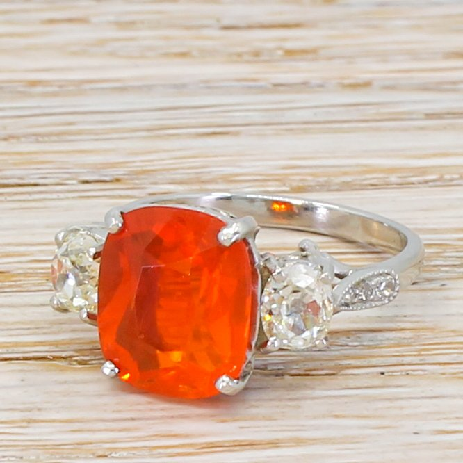 mid century 289 carat fire opal 038 old cut diamond trilogy ring circa 1950