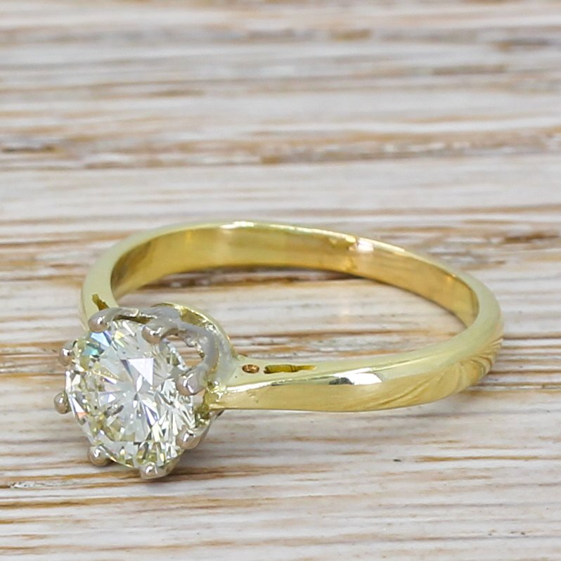 late 20th century 125 carat round brilliant cut diamond engagement ring circa 1970