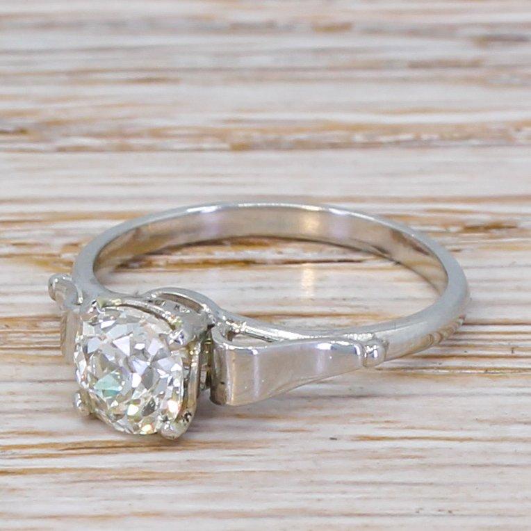art deco 097 carat old cut diamond engagement ring circa 1925