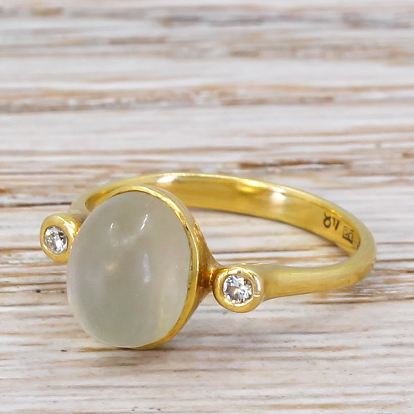 modern moonstone 038 diamond trilogy ring 18k gold