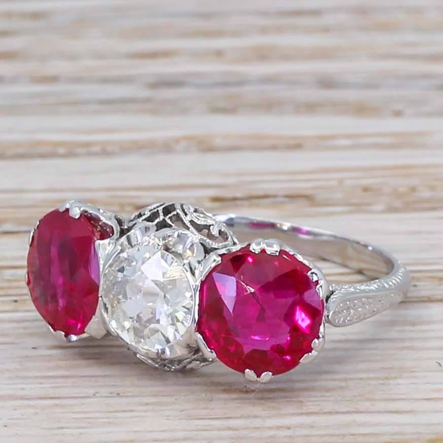 art deco 080 carat old cut diamond 038 synthetic ruby ring circa 1930