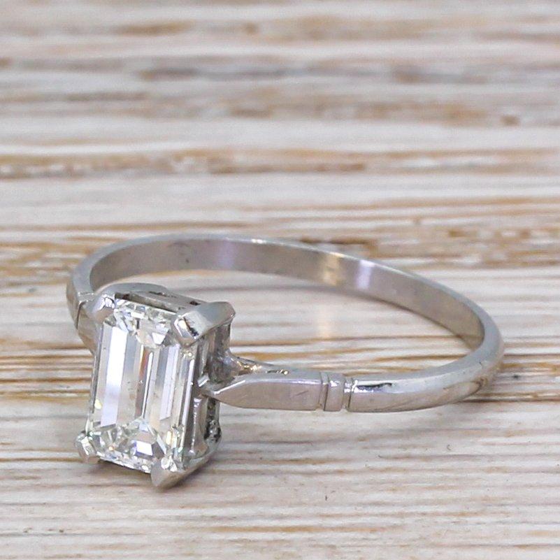 mid century 100 carat emerald cut diamond engagement ring circa 1955