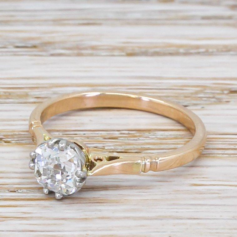 edwardian 080 carat old cut diamond engagement ring circa 1910