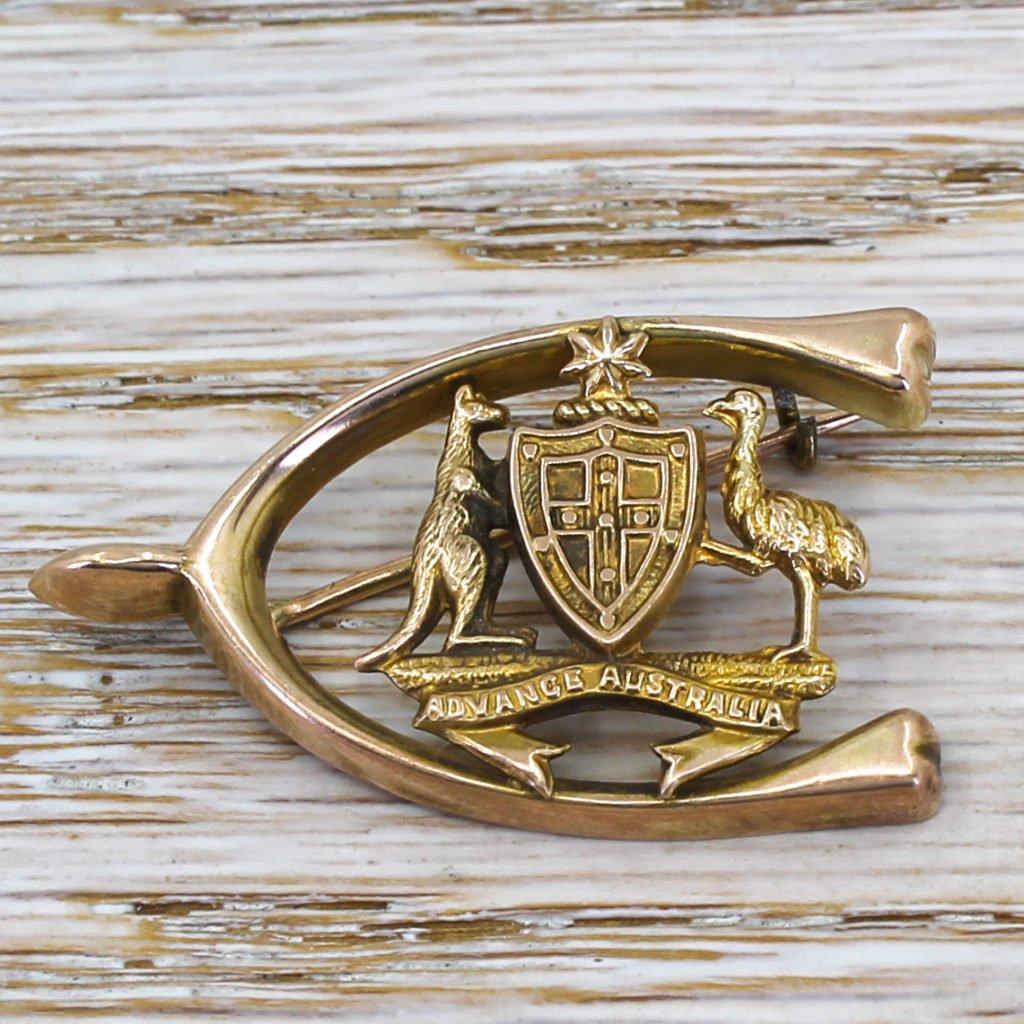 victorian 8220advance australia8221 wishbone brooch circa 1890