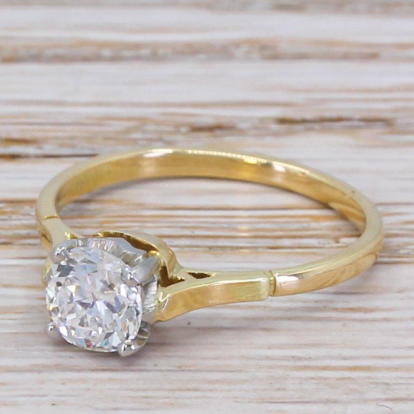 art deco 081 carat old cut diamond engagement ring circa 1920