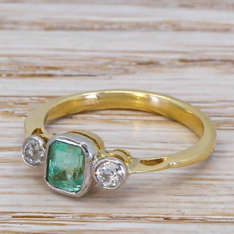 mid century 087 carat emerald 038 022 carat diamond ring circa 1950