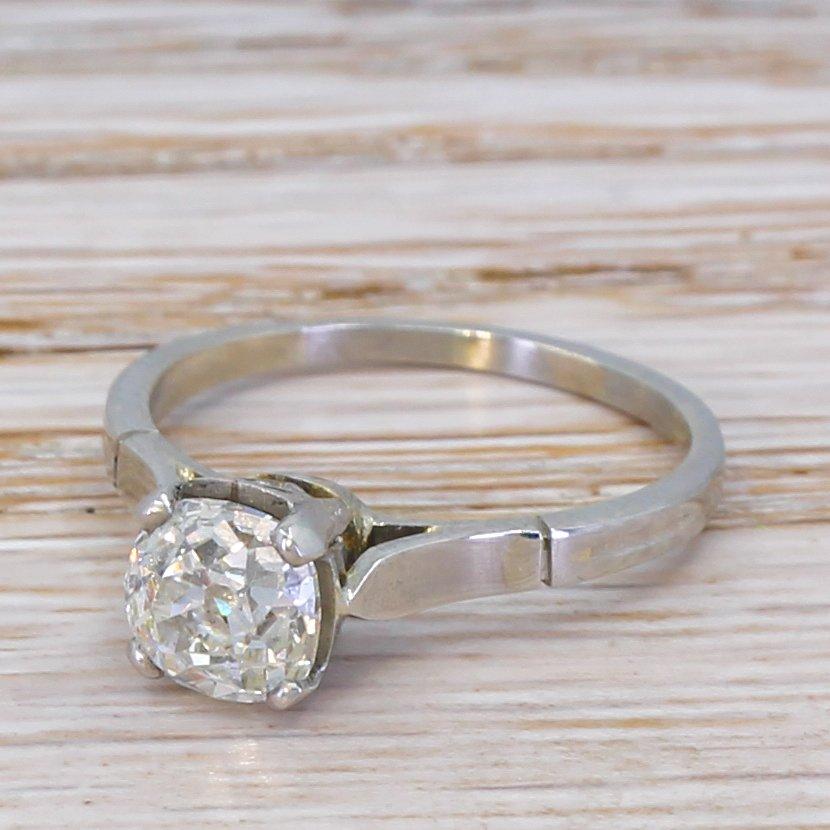art deco 132 carat old cut diamond engagement ring circa 1930