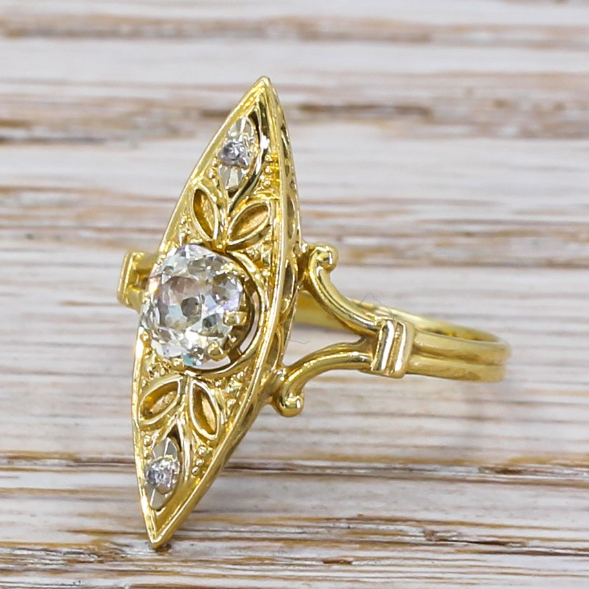 art nouveau 050 carat old cut diamond navette ring circa 1910