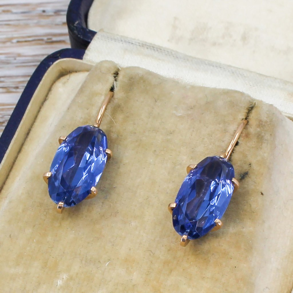 vintage soviet 700 carat synthetic sapphire earrings circa 1980