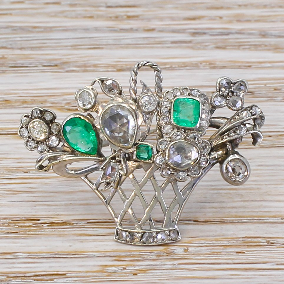 mid century 064 carat emerald 038 132 carat diamond brooch circa 1960