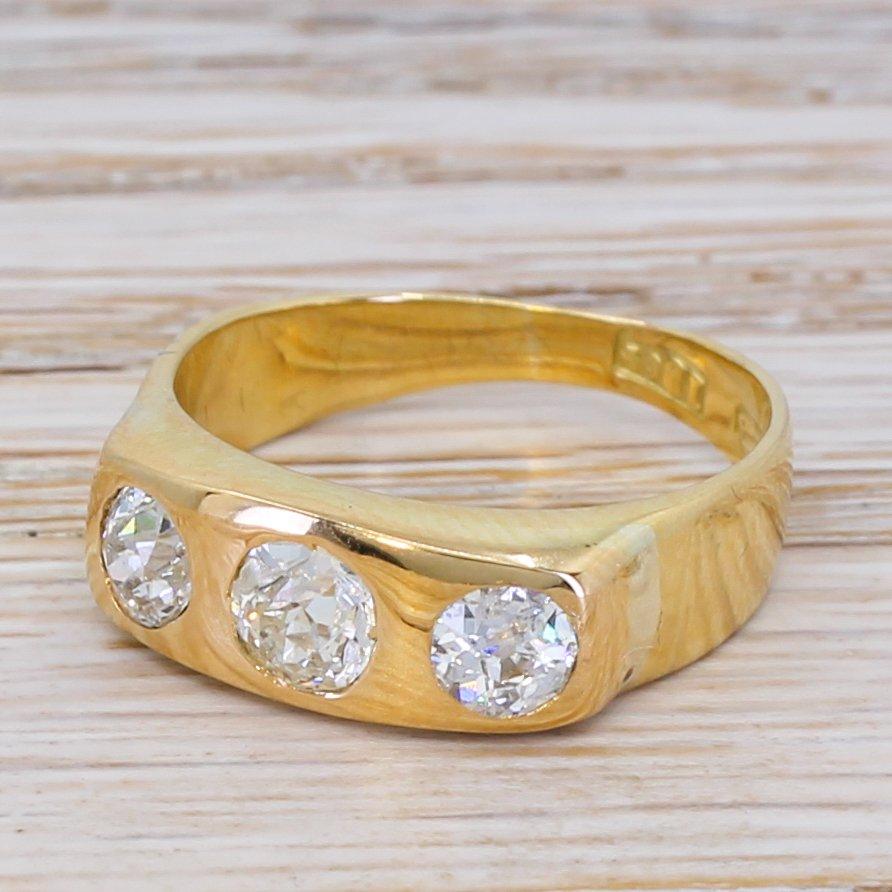 victorian 125 carat old cut diamond trilogy ring circa 1900