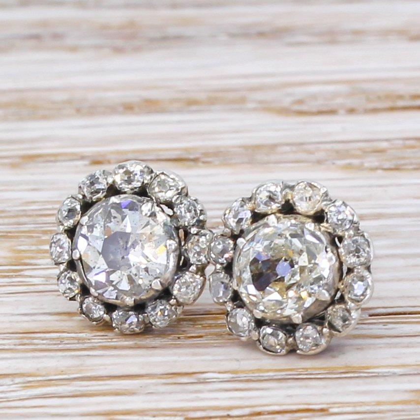 victorian 247 carat old cut diamond cluster earrings circa 1880