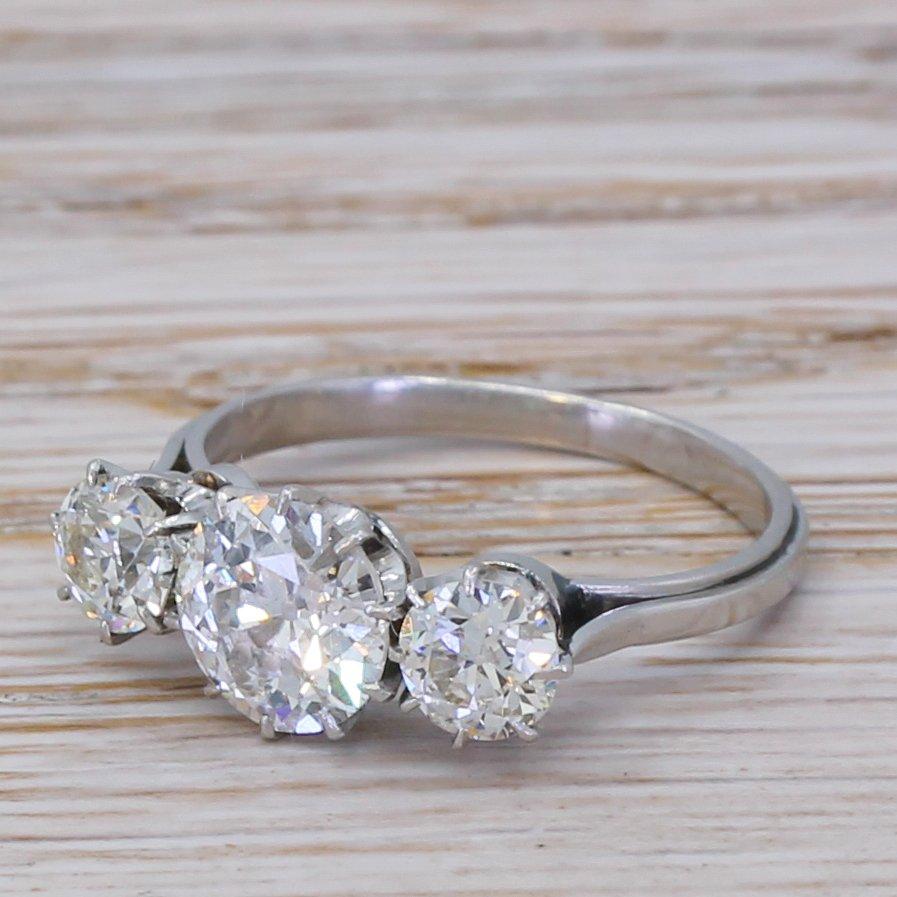 art deco 196 carat old cut diamond trilogy ring circa 1935