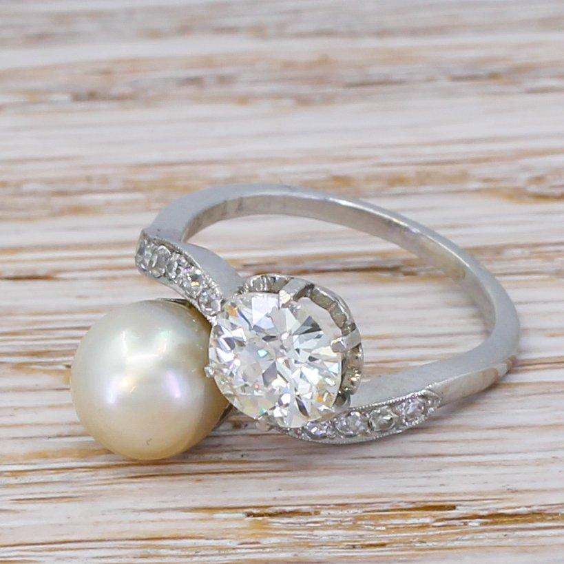 art deco 111 carat old cut diamond 038 natural pearl crossover ring circa 1915