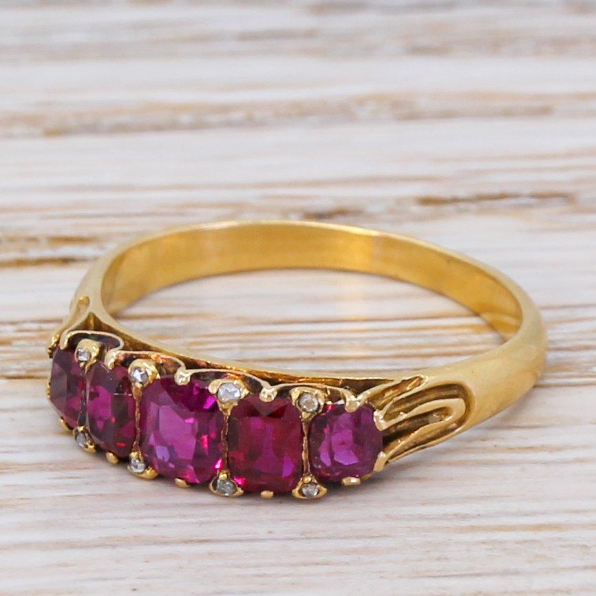 victorian 120 carat ruby five stone ring circa 1900