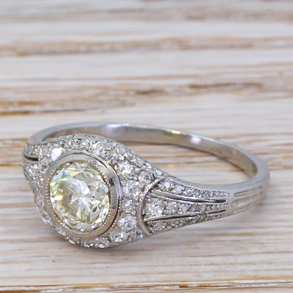 mid century 102 carat 038 086 carat transitional cut diamond ring circa 1945