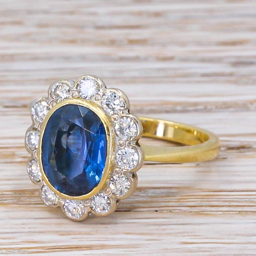 late 20th century 265 carat sapphire 038 diamond ring circa 1980