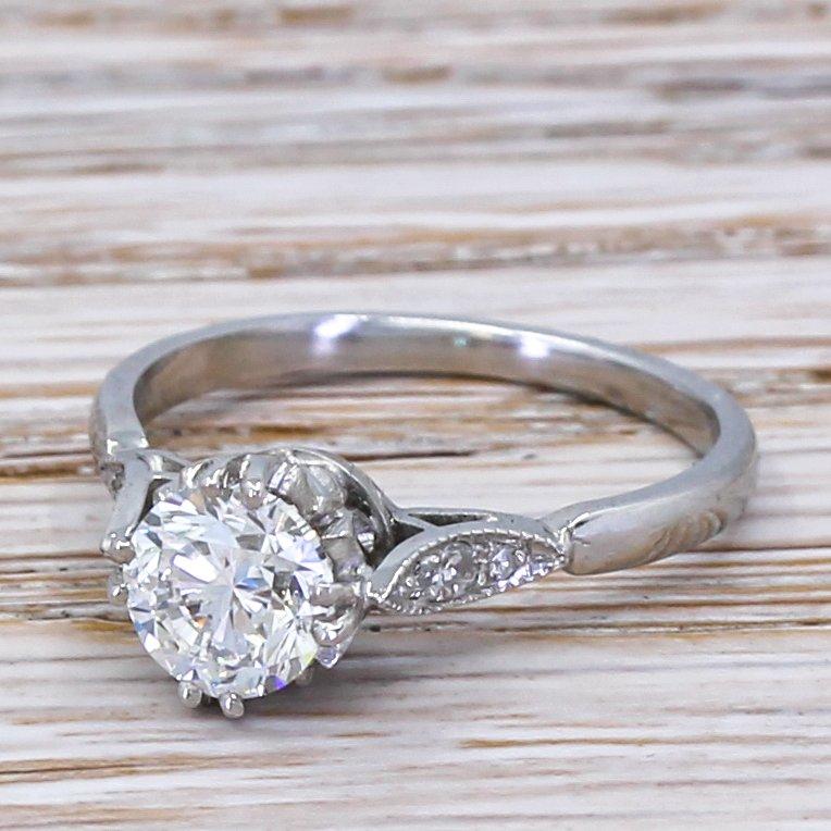 mid century 100 carat round brilliant cut diamond engagement ring circa 1960