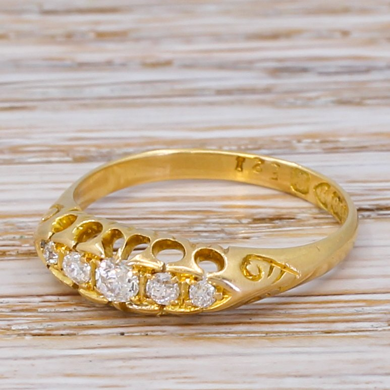 edwardian 020 carat old cut diamond five stone ring dated 1902