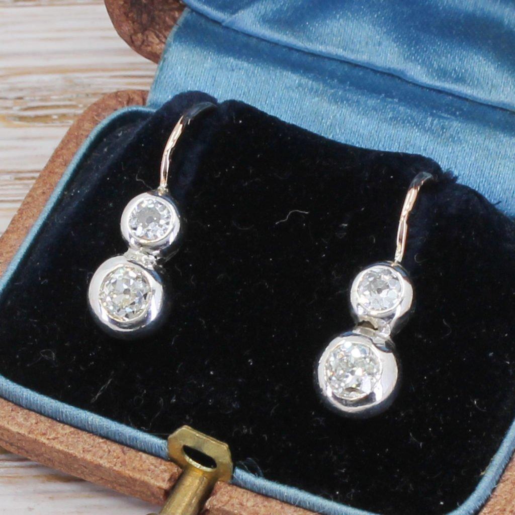 victorian 080 carat old cut diamond earrings circa 1900