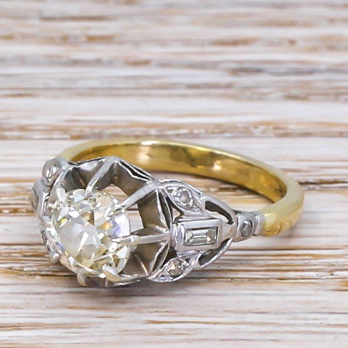 art deco 143 carat old cut diamond engagement ring circa 1935