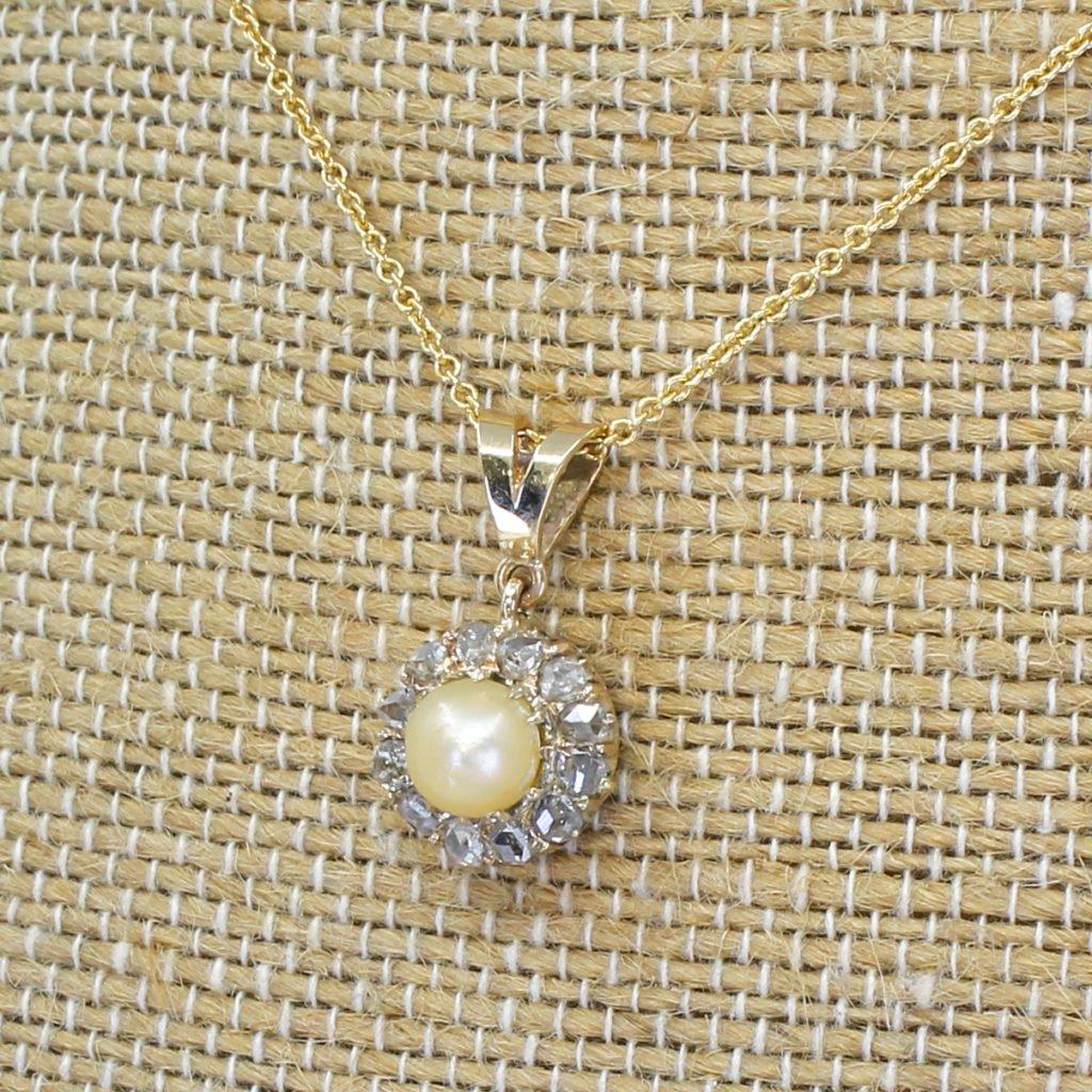 victorian natural pearl 038 rose cut diamond cluster pendant circa 1880
