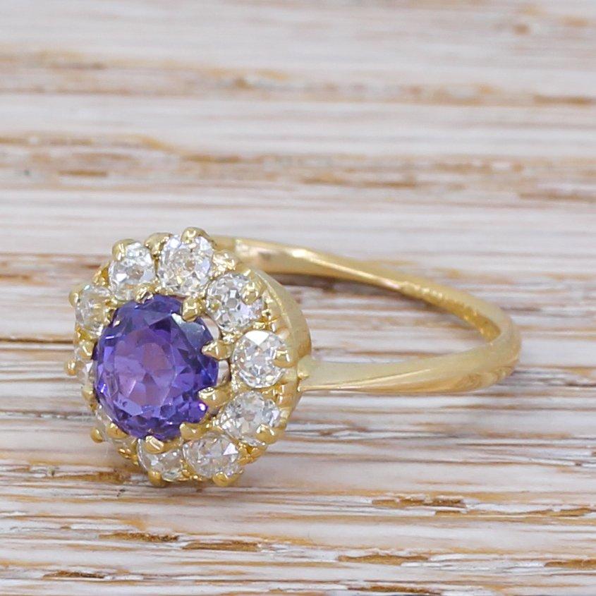 art deco 164 carat natural purple sapphire 038 diamond ring circa 1925