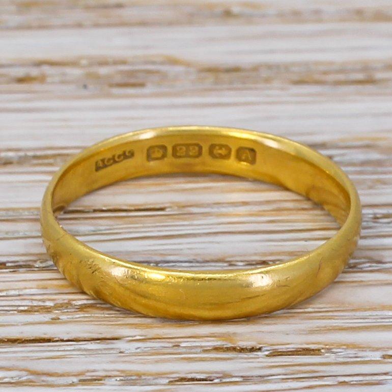 art deco 22k yellow gold wedding band dated 1925