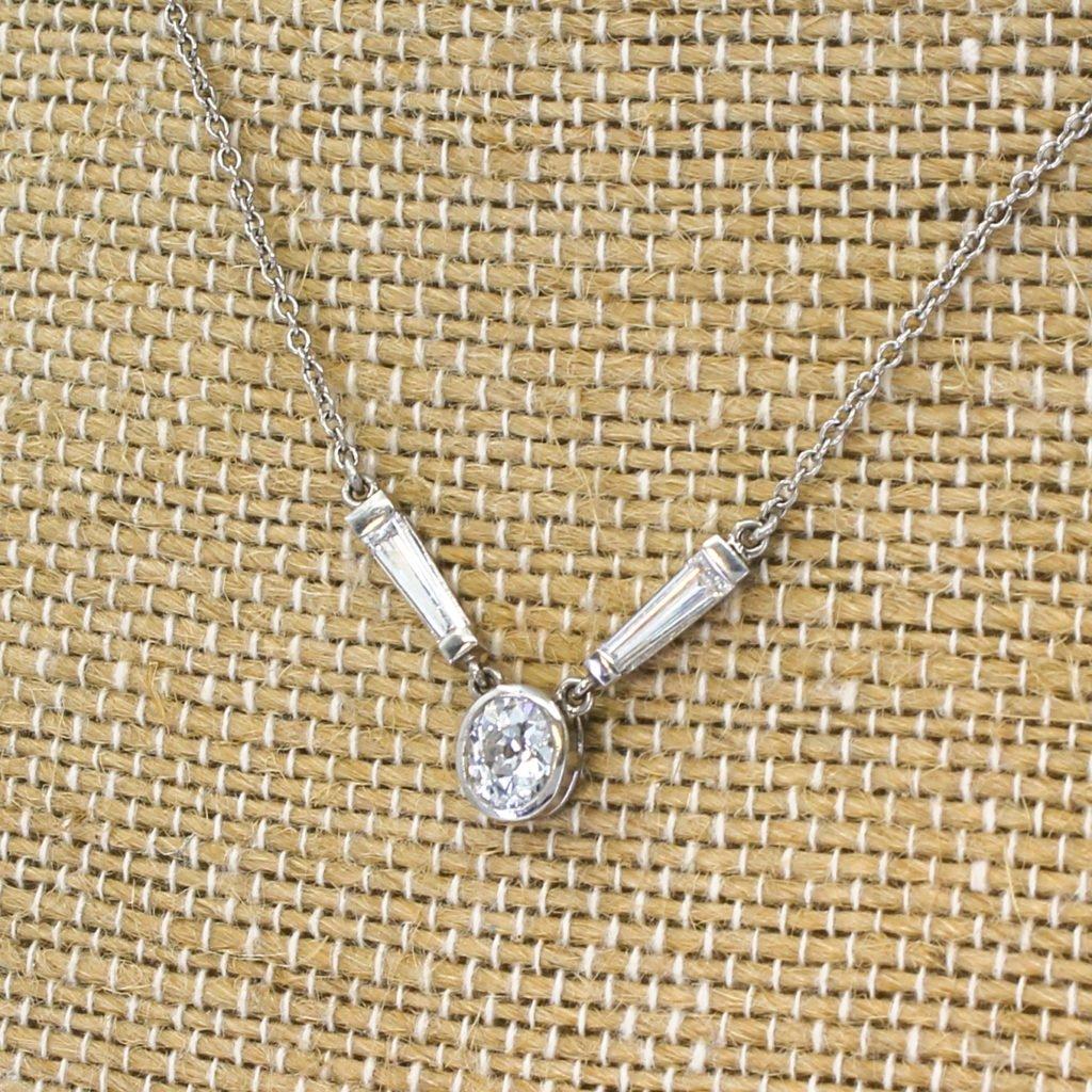 art deco 095 carat old cut 038 tapered baguette cut diamond necklace circa 1930