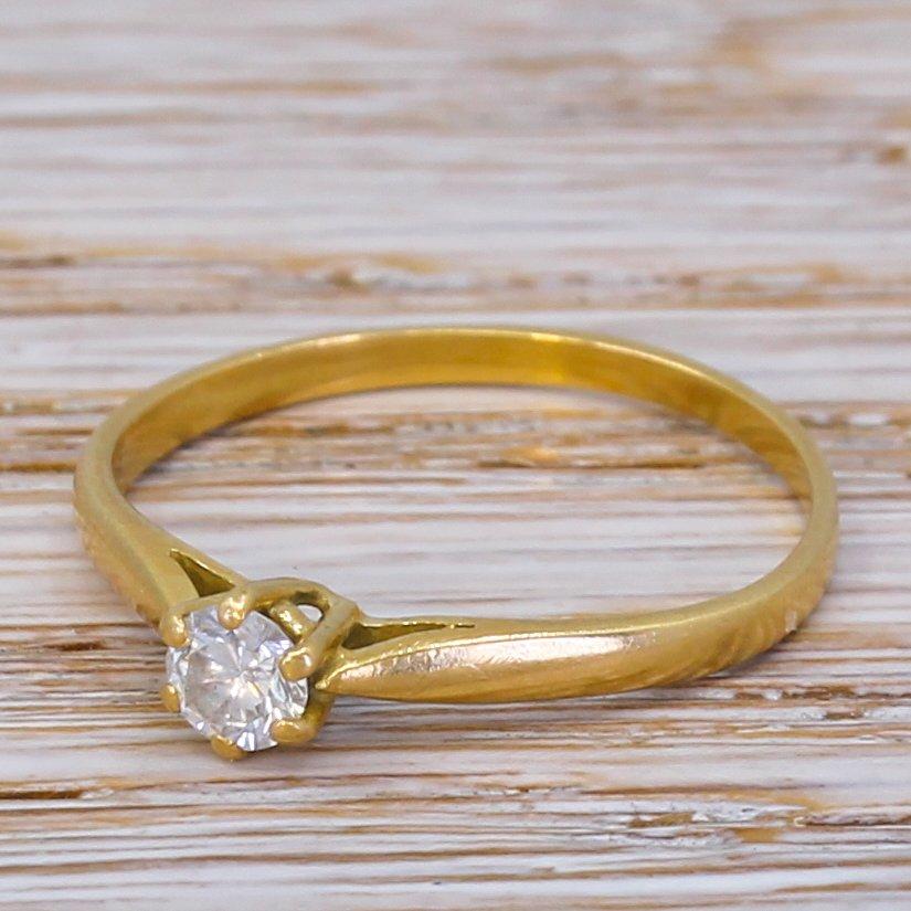 mid century 020 carat transitional cut diamond engagement ring circa 1960