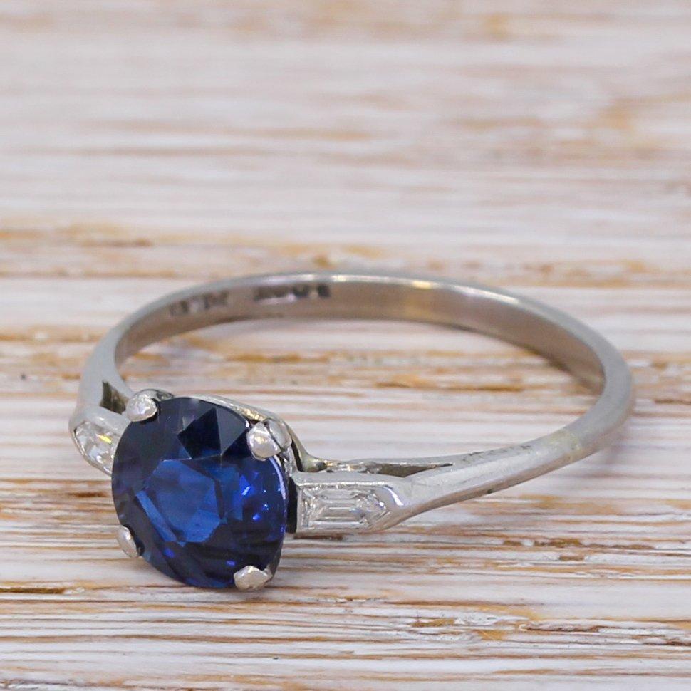 art deco 201 carat natural sapphire solitaire ring circa 1920