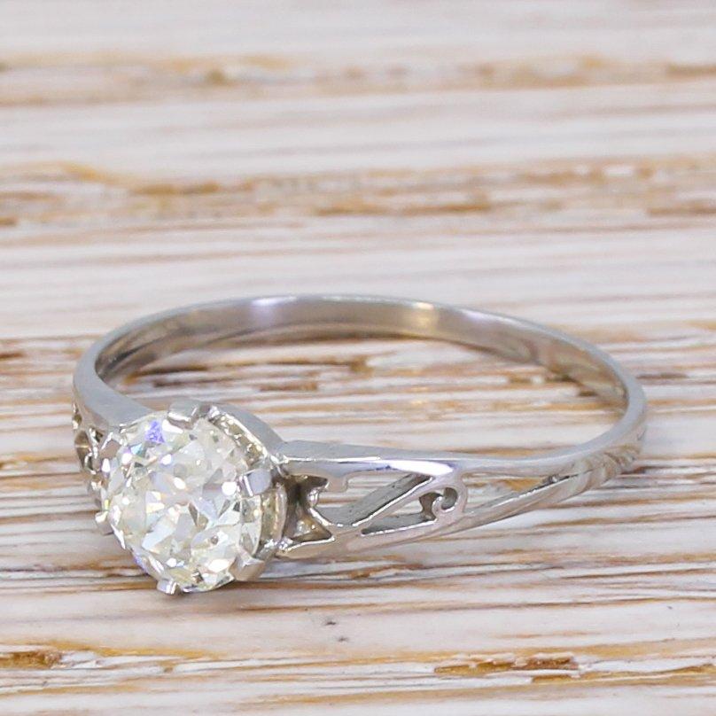 art deco 074 carat old cut diamond engagement ring circa 1920