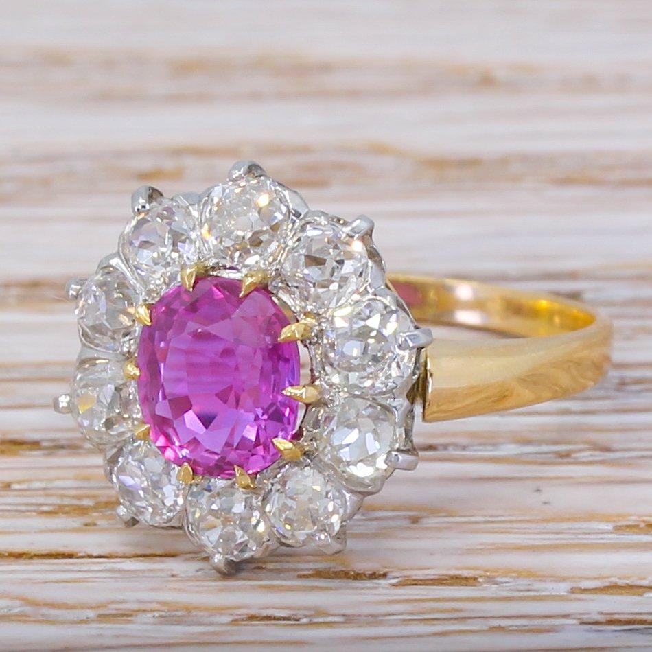 art deco 180 carat pink sapphire 038 200 carat old cut diamond ring circa 1925