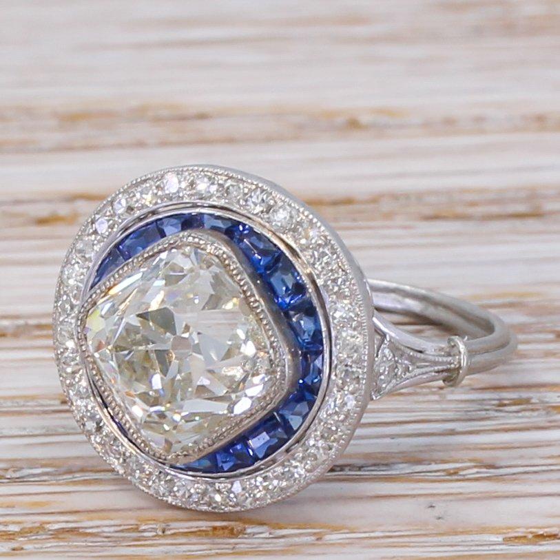 art deco 327 carat old cut diamond 038 sapphire target cluster ring circa 1915