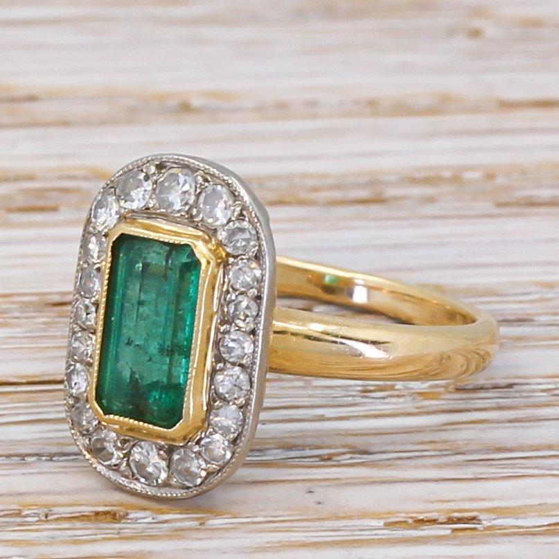 late 20th century 120 carat emerald cut emerald 038 diamond ring circa 1970