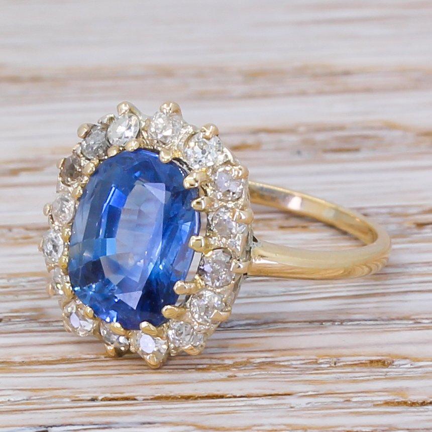 mid century 527 carat sapphire 038 old cut diamond ring circa 1955
