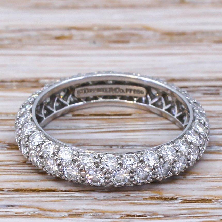 tiffany 038 co etoile 3 row diamond ring platinum