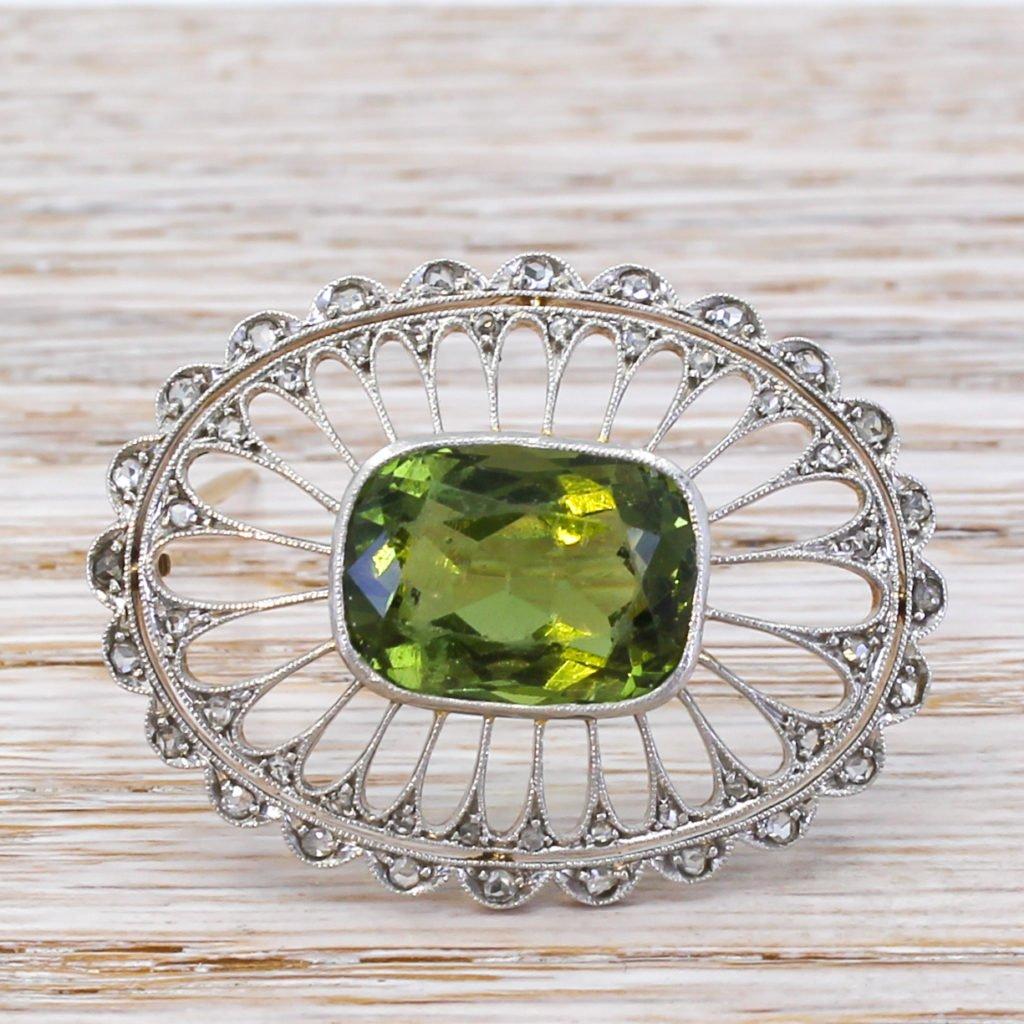 art nouveau 870 carat green paste 038 rose cut diamond brooch circa 1910
