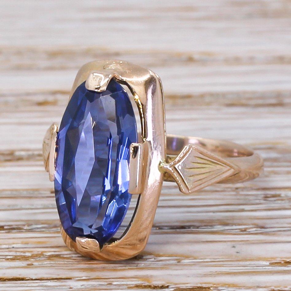 vintage soviet 500 carat synthetic sapphire ring circa 1980
