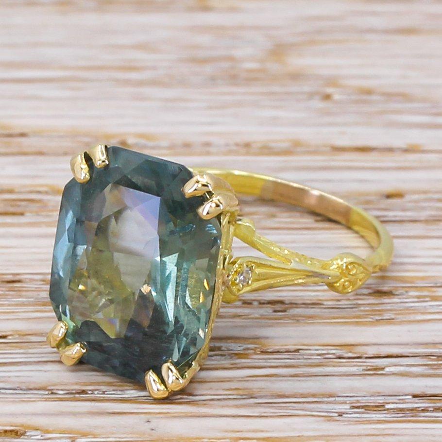 mid century 1288 carat natural greenish blue sapphire solitaire ring circa 1960