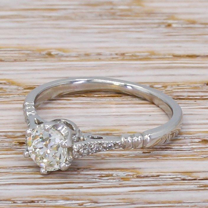 art deco 072 carat old cut diamond engagement ring circa 1925