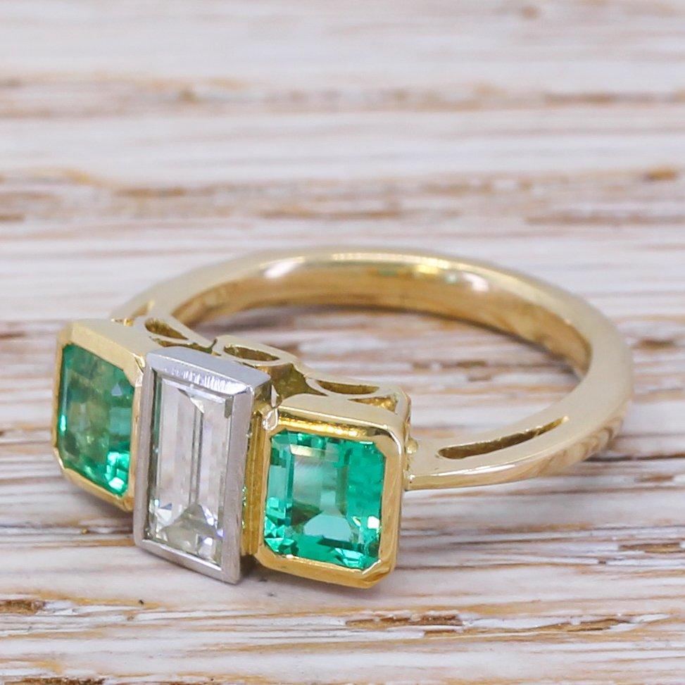 modernist 065 carat baguette cut diamond 038 emerald trilogy ring circa 1960