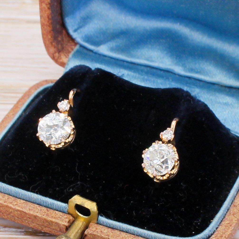mid century 153 carat old cut diamond earrings circa 1950