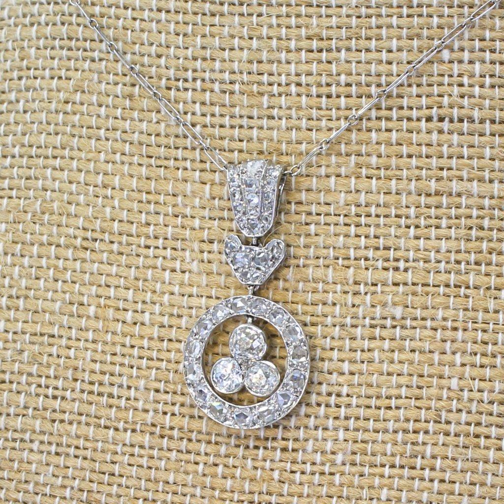 edwardian 090 carat old cut 038 rose cut diamond pendant circa 1910