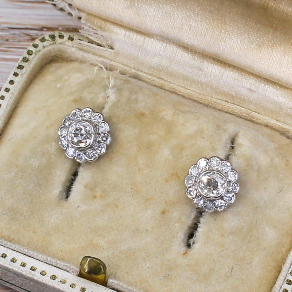 mid century 091 carat old cut diamond daisy cluster earrings circa 1960