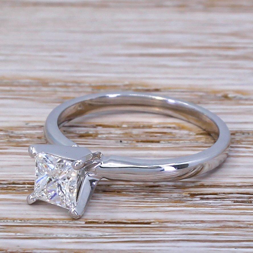 078 carat princess cut diamond engagement ring 14k white gold