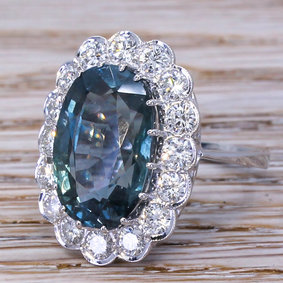 late 20th century 1280 carat natural sapphire 038 diamond ring dated 1987